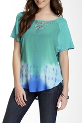 Hale Bob Short Sleeve Silk Blend Top Green
