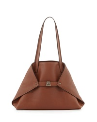 Akris Ai Small Leather Shoulder Tote Bag Caramel