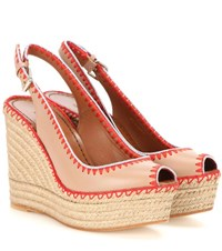 Valentino Leather Peep Toe Espadrille Wedge Sandals Beige