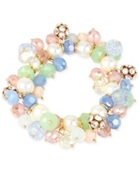 Macy's M. Haskell Gold Tone Multi Colored Shaky Bead Stretch Bracelet