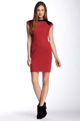 Magaschoni Ponte Lace Dress Red