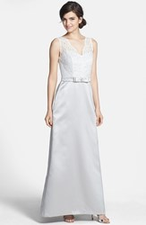 Women's After Six Sleeveless Lace And Matte Satin Dress Oyster