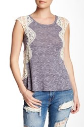 Lily White Crochet Detail Tank Purple