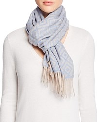Bloomingdale's C By Geometric Cashmere Scarf Black Pale Gray