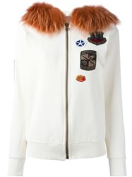 Mr And Mrs Italy Detachable Fur Hooded Sweater White