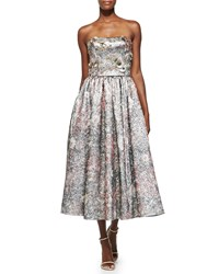 Notte By Marchesa Strapless Metallic Floral Cocktail Dress Gold