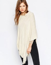 B.Young Fringed Poncho Cream