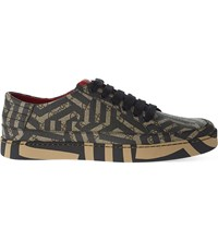 Gucci Common Geometric Print Low Top Trainers Blk Brown