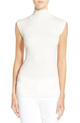 Women's Vince Skinny Rib Sleeveless Turtleneck Sweater Off White