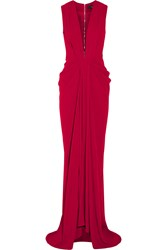 Thakoon Draped Satin Crepe Gown Red