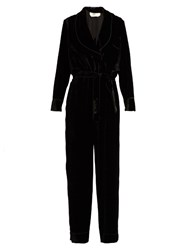Fendi Shawl Collar Velvet Jumpsuit Black