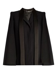 Alexander Mcqueen Tailored Wool And Silk Blend Cape Black