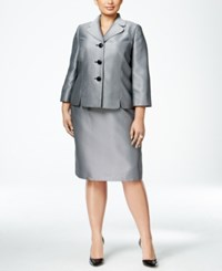 Le Suit Plus Size Three Button Herringbone Skirt Silver