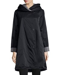 Eileen Fisher Reversible Hooded Rain Coat Black Pewter Black Silver Petite Women's