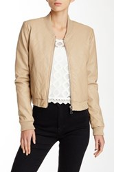 Cecico Faux Leather Quilted Bomber Jacket Beige