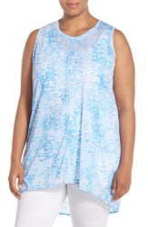 Plus Size Women's Two By Vince Camuto 'Rippling Tide' Print Burnout High Low Tank Poolside