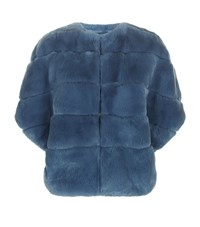 Max Mara Maxmara Weekend Orsi Rabbit Fur Jacket Female Blue