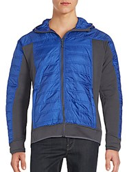 Saks Fifth Avenue Quilted Hooded Jacket Mazanine Blue