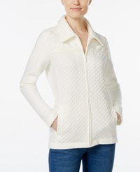 Alfred Dunner Petite Twilight Point Lace Detail Zip Up Sweater Ivory