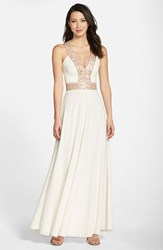 Dress The Population Women's 'Delani' Sequin Crepe Gown Ivory Opalescent