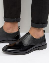 Asos Fomal Shoes In Black Leather With Black Elastic Black