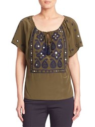Tory Burch Camille Silk Embellished Peasant Blouse Green