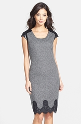 Maggy London Faux Leather And Lace Trim Tweed Sheath Dress Black White