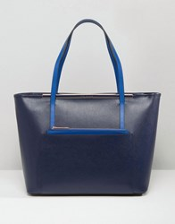 Ted Baker Tote Bag With Front Pocket Removable Pouch Dark Blue
