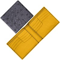 Maison Takuya Ostrich T6 Wallet Gray And Yellow Lining