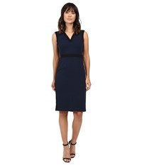 Adrianna Papell Color Contrast Stretch Crepe V Neck Sheath Dress Blue Moon Women's Dress Navy