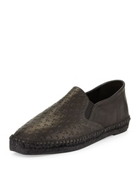 Embossed Leather Espadrille Flat Black Tomas Maier