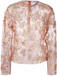 Msgm Semi Sheer Floral Print Blouse Pink And Purple