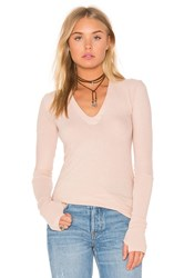 Enza Costa Cashmere Jersey Cuffed Top Peach
