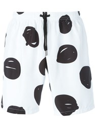 Jeremy Scott Scribble Print Swim Shorts White
