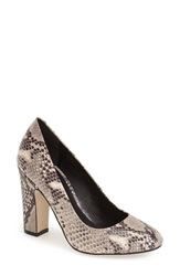 Dune 'Aubree' Block Heel Pump Women Natural Reptile Print Leather