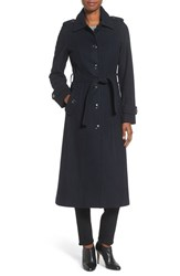 Michael Michael Kors Women's Long Belted Wool Blend Coat Navy
