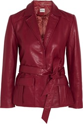 Ganni Passion Belted Leather Jacket Claret