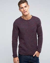 Esprit Waffle Knit Crew Neck Jumper In Mixed Yarns Burgundy Red