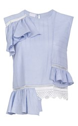 Lala Berlin Lene Ruffle Top Blue