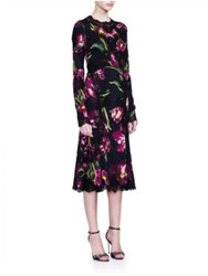 Dolce And Gabbana Long Sleeve Stretch Lace Floral Dress Dark Purple