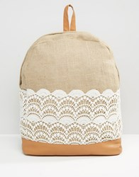 America And Beyond Lacey Little Backpack Beige Cream