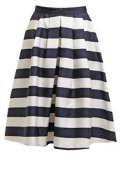 Louche Kienna Pleated Skirt Navy White Dark Blue