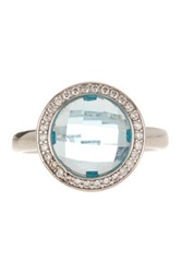 White Pave Simulated Diamond And Blue Crystal Ring