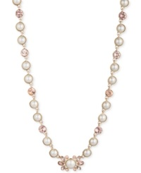 Givenchy Gold Tone Vintage Rose And Imitation Pearl Collar Necklace Silk White