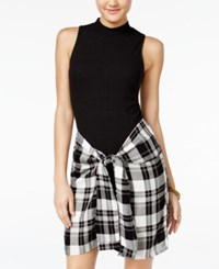 Material Girl Rib Knit Plaid Faux Wrap Bodycon Dress Only At Macy's Caviar Black