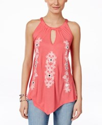 Inc International Concepts Embroidered Handkerchief Hem Halter Top Only At Macy's Polish Coral