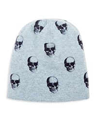 360Cashmere Skull Cashmere Beanie Chambray Charcoal Skulls