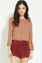 Forever 21 Pintucked Floral Print Blouse Mustard Cream