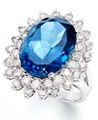 Macy's 14K White Gold Ring London Blue Topaz 12 Ct. T.W. And Diamond 1 5 8 Ct. T.W. Oval Ring