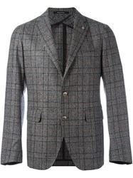 Tagliatore Plaid Single Breasted Blazer Grey